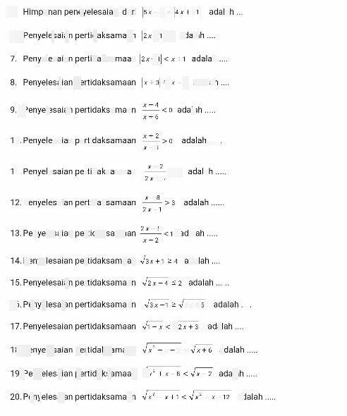 search-thumbnail-Penyelesaian pertidaksamaan \dfrac{x-4}{x-6}<0 adalah ...