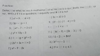 search-thumbnail-Defermine whether each mathematical sentence is a quadratic inequality or