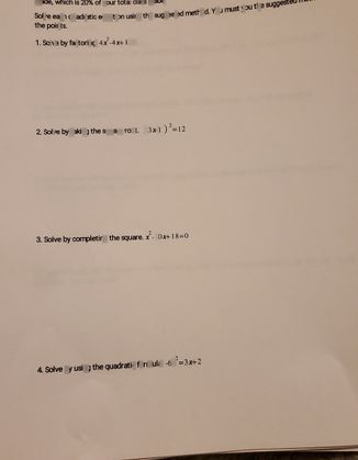 search-thumbnail-Solve each quadratic equation using the suggested method. You must youthe suggeste