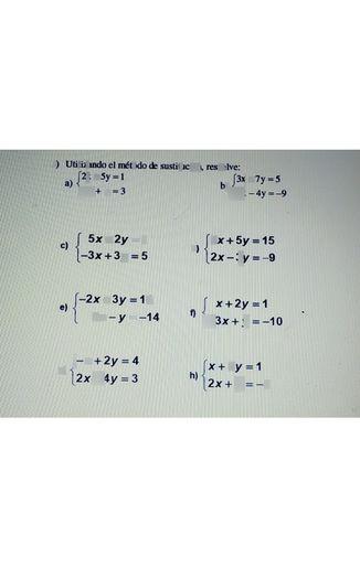 search-thumbnail-a) \begin{cases}2x+5y=1\\-x+y=3\end{cases} b)\begin{cases}3x+7y=5\\2x-4y=-9\end{cases}