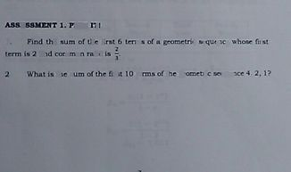 search-thumbnail-1 Find the sum of the rs 6terms of a geometric sequence whose first