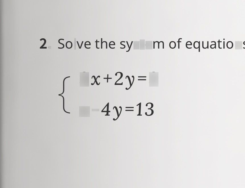search-thumbnail-$2.$ Solve the system of equations  $ \begin{cases} 3x+2y=3 \\ x-4y=13 \end{cases} $