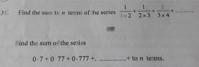 search-thumbnail-35. Find the sum to n terms of the series \dfrac{1}{1\times2}+\dfrac{1}{2\times3}+\dfrac{1}{3\times4}+