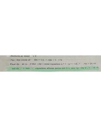 search-thumbnail-2. Find the zeros ot the polynomial equation x^{4+2x^{3-13\times2-14x+24}}=0