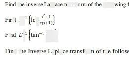 search-thumbnail-Find the inverse Laplace transform of the following f