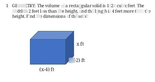 search-thumbnail-1. GEOMETRY The volume of a rectangular solid is 1120 cubicfeet. The