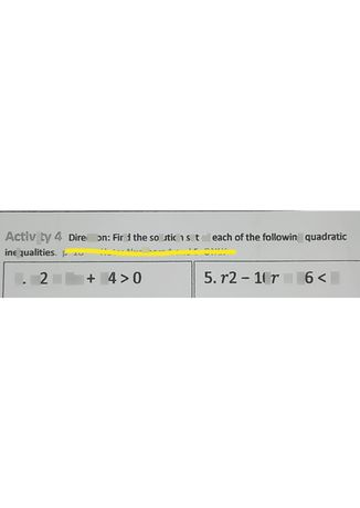 search-thumbnail-Activity 4 DireCtion Find the solution set of each of the following quadratic