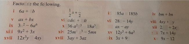 search-thumbnail-ix 3x^{2}-6a^{6} x 36a^{2}b^{3}-18a^{3}b^{2} xi ax-ay xii 2xy^{2}+2xy