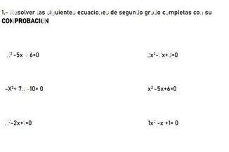 search-thumbnail-$1-$ Resolver las siguientes ecuaciones de segundo grado completas con su  COMPROBACION  $x^{2}-5x+6=0$ $2x^{2}-7x+3=0$  $-x^{2}+7x-10=0$ $x^{2}-5x+6=0$  $x^{2}$ $-2x+1=0$ $1x^{2}-x+1=0$