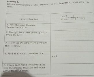 search-thumbnail-Solve the following rational equations and inequalities using the guided procedure on the table