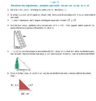 search-thumbnail-Tarea 1  Resolver los siguientes ejemplos aplicando los procesos aprendidos  1. Calcular la hipotenusa del triángulo rectángulo de lados $3cmy4cm$  2. Si la hipotenusa de un triángulo rectángulo mide $2cmyun0$ de sus lados mide $1cm$ ¿cuánto mide el  otro lado  3. Calcular la hipotenusa del triángulo rectángulo cuyos lados miden $\sqrt{2} y\sqrt{3} $  4. Calcular la altura que podemos alcanzar $con$ una escalera de 3 metros apoyada sobre la pared si la  parte inferior la situamos $a70$ centímetros de $6stz$  $3m$  $7ocm$  5. Al atardecer, un árbol proyecta una sombra de $2,5$ metros de $longitud$ $si1a$ distancia desde la parte  más alta del árbol al extremo más alejado de la sombra es de 4 metros, $ecu\leq $ es la altura del árbol?   6. Calcular la hipotenusa de un triángulo rectángulo de $60cm$ de cateto menor $y80cm$ de cateto  mayor.  $60cm$ $h=7$  $-$ $\bar{80cm} $