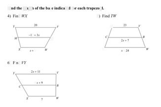 search-thumbnail-Find the length of the base indicated for each trapezoid.
