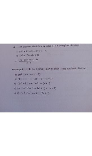 search-thumbnail-Activity 1s Divide the following polynomials using long division.